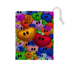 Heart Love Smile Smilie Drawstring Pouches (large)
