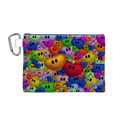 Heart Love Smile Smilie Canvas Cosmetic Bag (m)