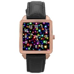 Fireworks Rocket New Year S Day Rose Gold Leather Watch
