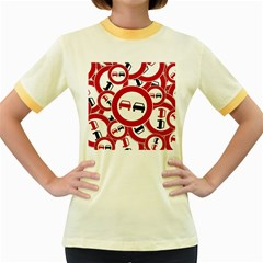 Overtaking Traffic Sign Women s Fitted Ringer T Shirts