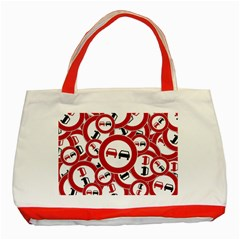 Overtaking Traffic Sign Classic Tote Bag (red)