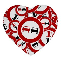 Overtaking Traffic Sign Heart Ornament (two Sides)