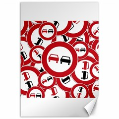 Overtaking Traffic Sign Canvas 12  X 18