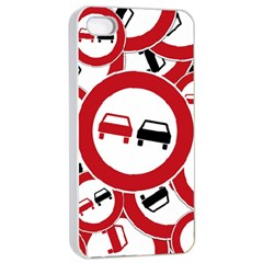 Overtaking Traffic Sign Apple Iphone 4/4s Seamless Case (white)