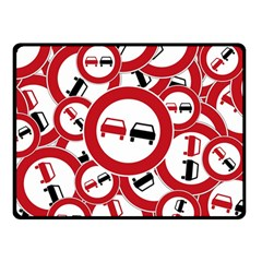 Overtaking Traffic Sign Double Sided Fleece Blanket (small)