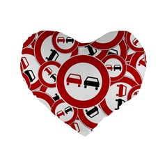 Overtaking Traffic Sign Standard 16  Premium Flano Heart Shape Cushions