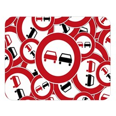 Overtaking Traffic Sign Double Sided Flano Blanket (large)