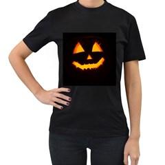 Pumpkin Helloween Face Autumn Women s T Shirt (black) (two Sided)