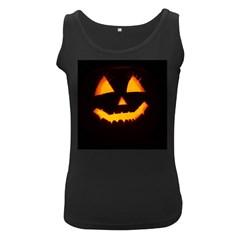 Pumpkin Helloween Face Autumn Women s Black Tank Top