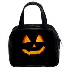 Pumpkin Helloween Face Autumn Classic Handbags (2 Sides)