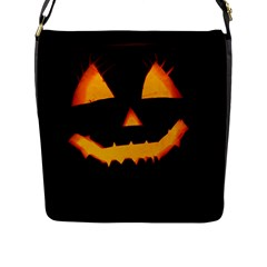 Pumpkin Helloween Face Autumn Flap Messenger Bag (l)