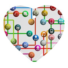 Icon Media Social Network Heart Ornament (two Sides)