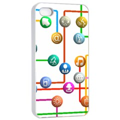 Icon Media Social Network Apple Iphone 4/4s Seamless Case (white)