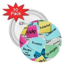 Stickies Post It List Business 2 25  Buttons (10 Pack)