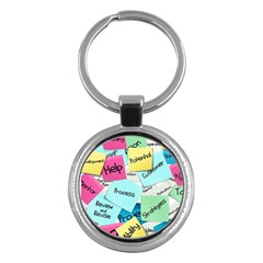 Stickies Post It List Business Key Chains (round)