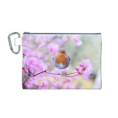 Spring Bird Bird Spring Robin Canvas Cosmetic Bag (m)