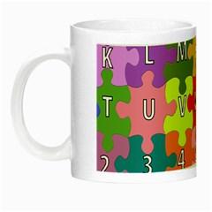 Puzzle Part Letters Abc Education Night Luminous Mugs