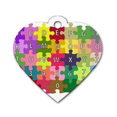 Puzzle Part Letters Abc Education Dog Tag Heart (one Side)