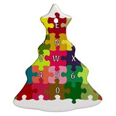 Puzzle Part Letters Abc Education Ornament (christmas Tree)