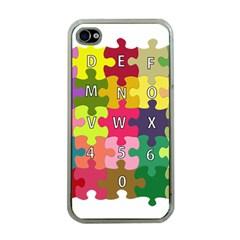 Puzzle Part Letters Abc Education Apple Iphone 4 Case (clear)