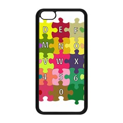 Puzzle Part Letters Abc Education Apple Iphone 5c Seamless Case (black)