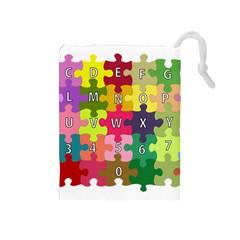 Puzzle Part Letters Abc Education Drawstring Pouches (medium)