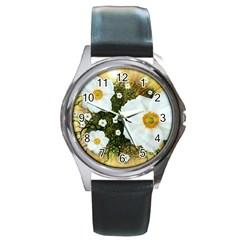 Summer Anemone Sylvestris Round Metal Watch