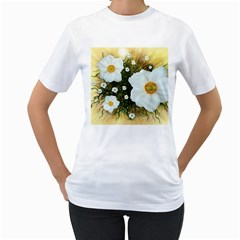 Summer Anemone Sylvestris Women s T Shirt (white) (two Sided)