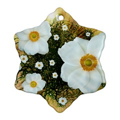 Summer Anemone Sylvestris Snowflake Ornament (two Sides)