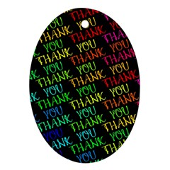 Thank You Font Colorful Word Color Ornament (oval)