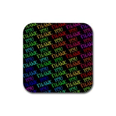 Thank You Font Colorful Word Color Rubber Square Coaster (4 Pack)