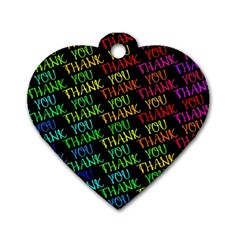 Thank You Font Colorful Word Color Dog Tag Heart (one Side)