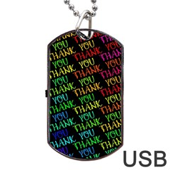 Thank You Font Colorful Word Color Dog Tag Usb Flash (two Sides)