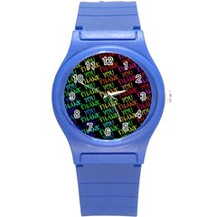 Thank You Font Colorful Word Color Round Plastic Sport Watch (s)