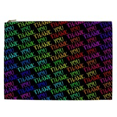 Thank You Font Colorful Word Color Cosmetic Bag (xxl)