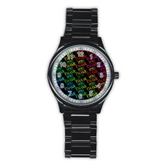 Thank You Font Colorful Word Color Stainless Steel Round Watch