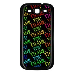 Thank You Font Colorful Word Color Samsung Galaxy S3 Back Case (black)