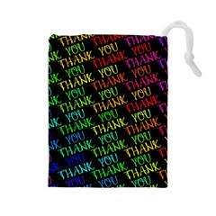 Thank You Font Colorful Word Color Drawstring Pouches (large)