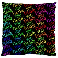 Thank You Font Colorful Word Color Large Flano Cushion Case (one Side)
