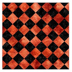 Square2 Black Marble & Copper Paint Large Satin Scarf (square)