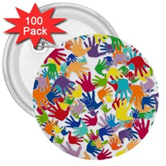 Volunteers Hands Voluntary Wrap 3  Buttons (100 Pack)