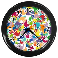 Volunteers Hands Voluntary Wrap Wall Clocks (black)