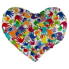 Volunteers Hands Voluntary Wrap Large 19  Premium Flano Heart Shape Cushions