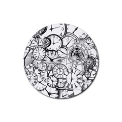 Time Clock Watches Time Of Rubber Coaster (round)