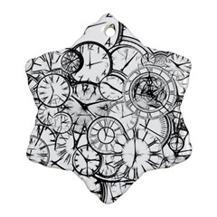 Time Clock Watches Time Of Ornament (snowflake)
