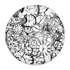 Time Clock Watches Time Of Round Filigree Ornament (two Sides)