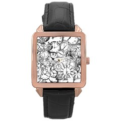 Time Clock Watches Time Of Rose Gold Leather Watch