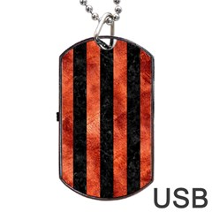 Stripes1 Black Marble & Copper Paint Dog Tag Usb Flash (two Sides)