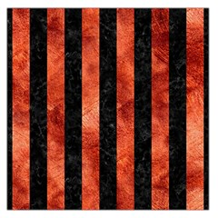 Stripes1 Black Marble & Copper Paint Large Satin Scarf (square)