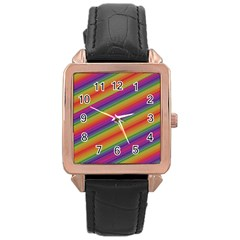 Spectrum Psychedelic Green Rose Gold Leather Watch